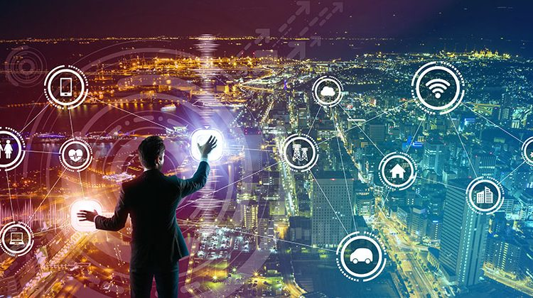 person touching the network of icons above a city skyline